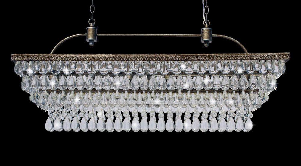 40 Inch Rectangular Clarissa Glass Drop Crystal Chandelier Antique