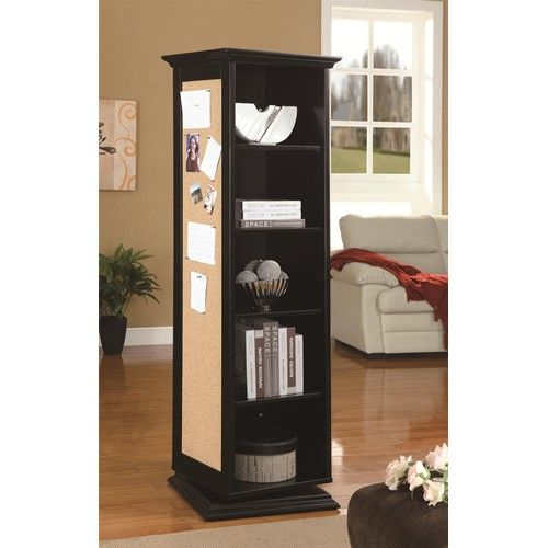 Swivel Cabinet With Storage Shelves Cork Board And Mirror