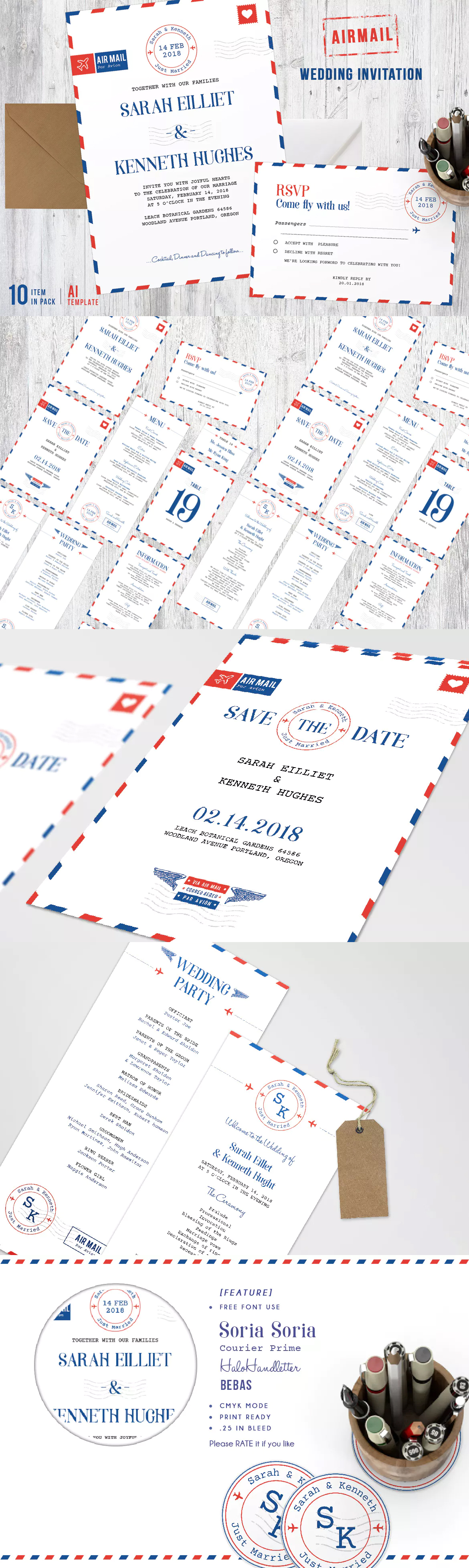 Airmail Wedding Invitations Template AI EPS