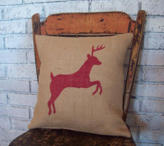 Burlap Reindeer Pillow Cover Christmas by NorthCountryComforts