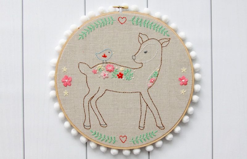 Daisy the Floral Deer Embroidery Pattern | Embroidery Hoops | Pinterest