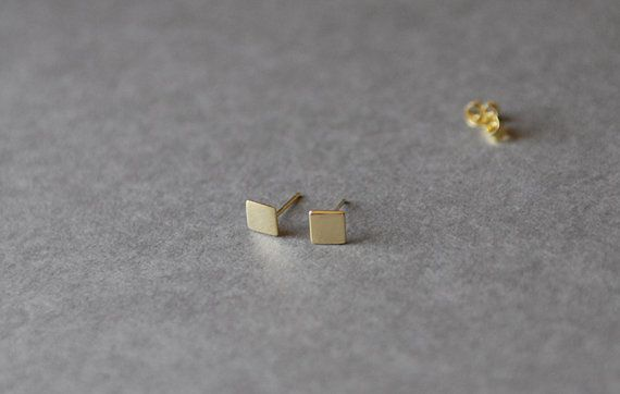 Gold Square Stud Earrings Plated Over Sterling Silver Sensitive Earssilver