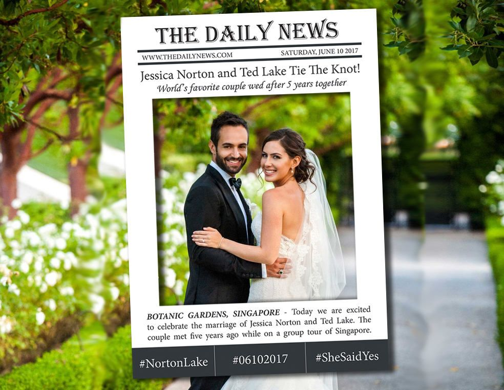 Personalized Newspaper Photo Booth Prop Frame Large Frame For