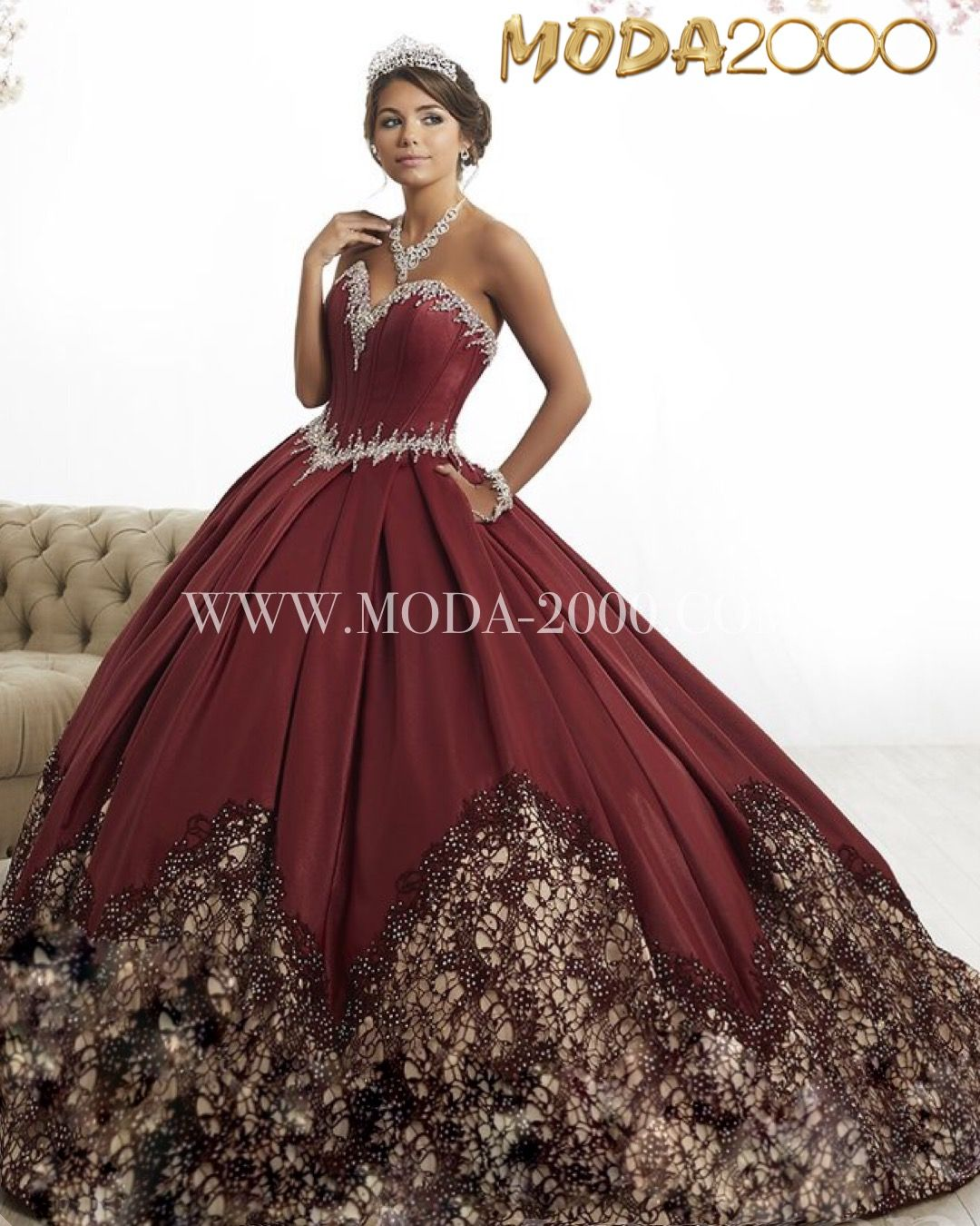 7e206ce117b Elegant embroidered burgundy quinceanera dress