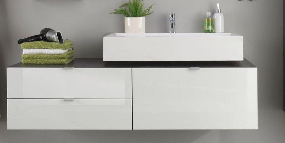 Waschbeckenunterschrank Rhona Iii Inkl Aufsatzwaschbecken Grau