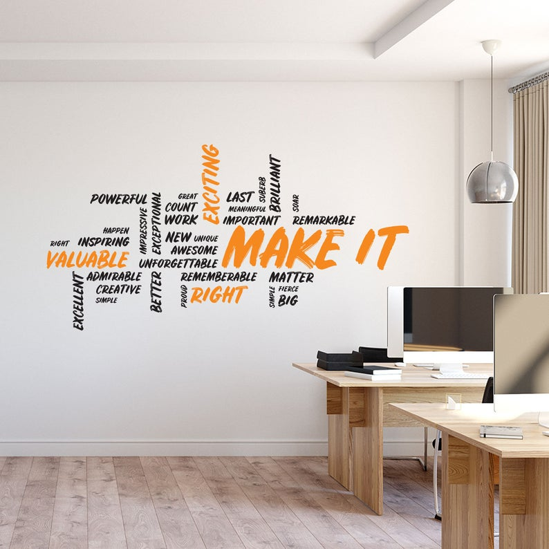 Make It Wall Decal Motivational Art Office Wall Art Office Etsy Office Wall Design Office Wall Decals Office Wall Graphics