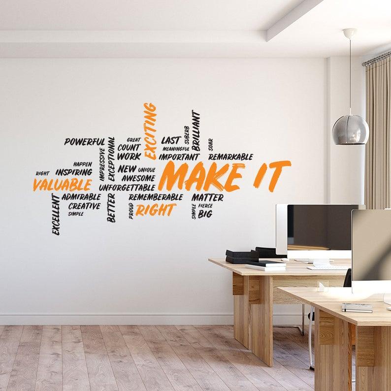 make it wall decal motivational art office wall art on wall stickers design id=43483