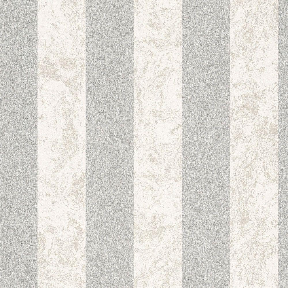 Carat Glitter Stripe Wallpaper Cream and Silver 13346