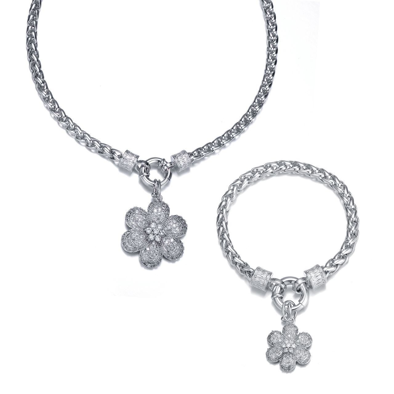 Penina Rhodium w/Removable Flower centerpiece and Matching Bracelet - Accent your style with a beautiful piece of costume jewelry. Make the perfect outfit complete with this Rhodium Necklace w/Cubic Zirconia Removable centerpiece and Matching Bracelet.