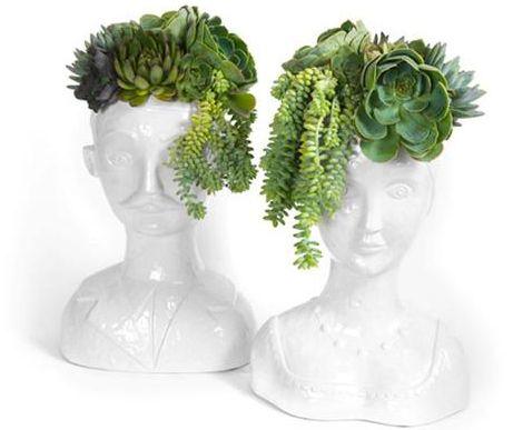 Wig Head Shaped Vases Are Like Modern Chia Pets Human Head