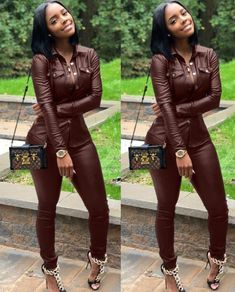 """""""Baddie"""" Two Piece Soft Leather Pants Set 2"""