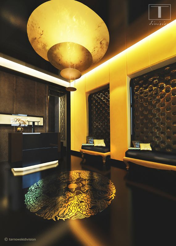 INTERIOR DESIGN OF CHINESE SPA BLACK AND GOLD designed by Szymon - modernes design spa hotel