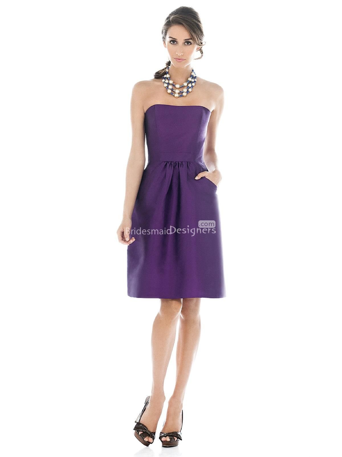 fashion purple knee length sleeveless a-line satin bridesmaid dress ...