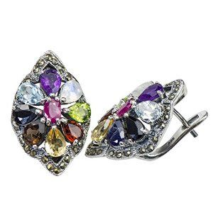 Lucky Rare Multi-Color Multi-Stone Earrings 925 Silver Ruby Sapphire Amethyst available at joyfulcrown.com