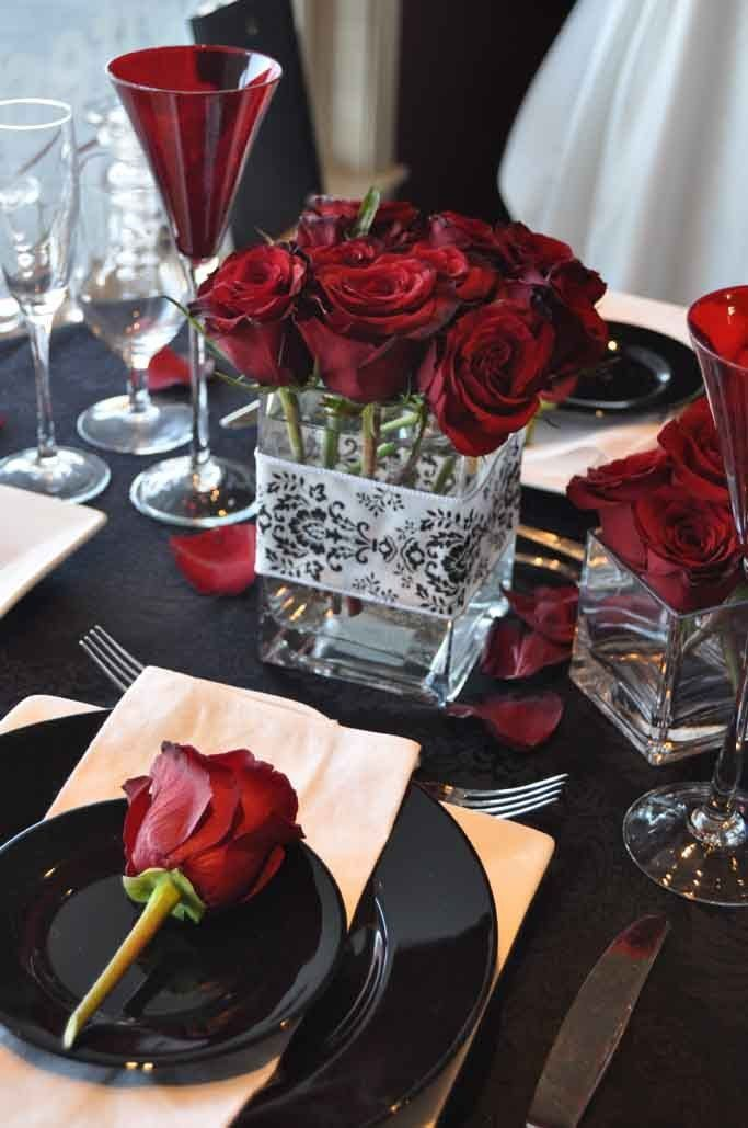 White red black centerpieces winter wedding flowers