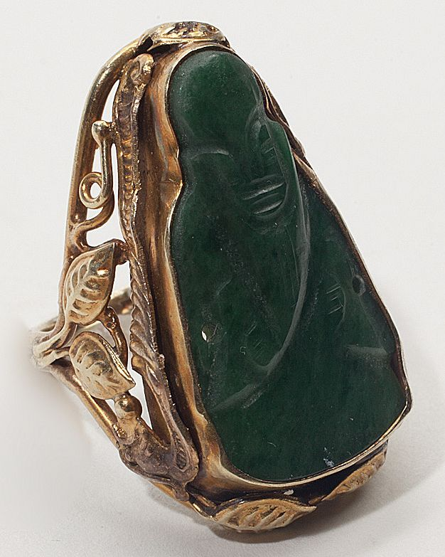 Vintage 14 Karat Yellow Gold Jade Buddah Cocktail Ring Fine Jewelry