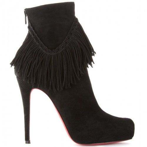 bdcaf4b6f7c Christian Louboutin Rom 120 Suede Fringe Ankle Boots  172.99