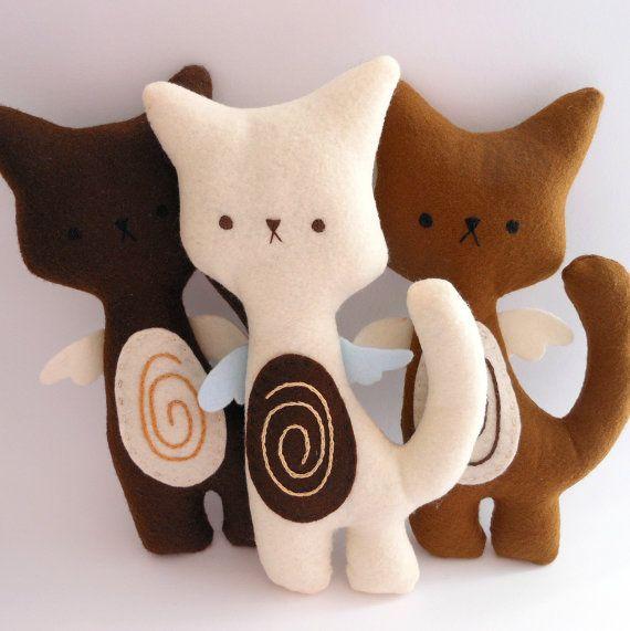 Kitty Cat Plush  Coffee Set of 3 stuffed by trepuntozerocivette