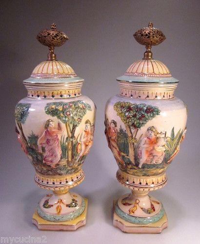Antique Pair Capodimonte Urn Vases Large Italy Porcelain Figurine