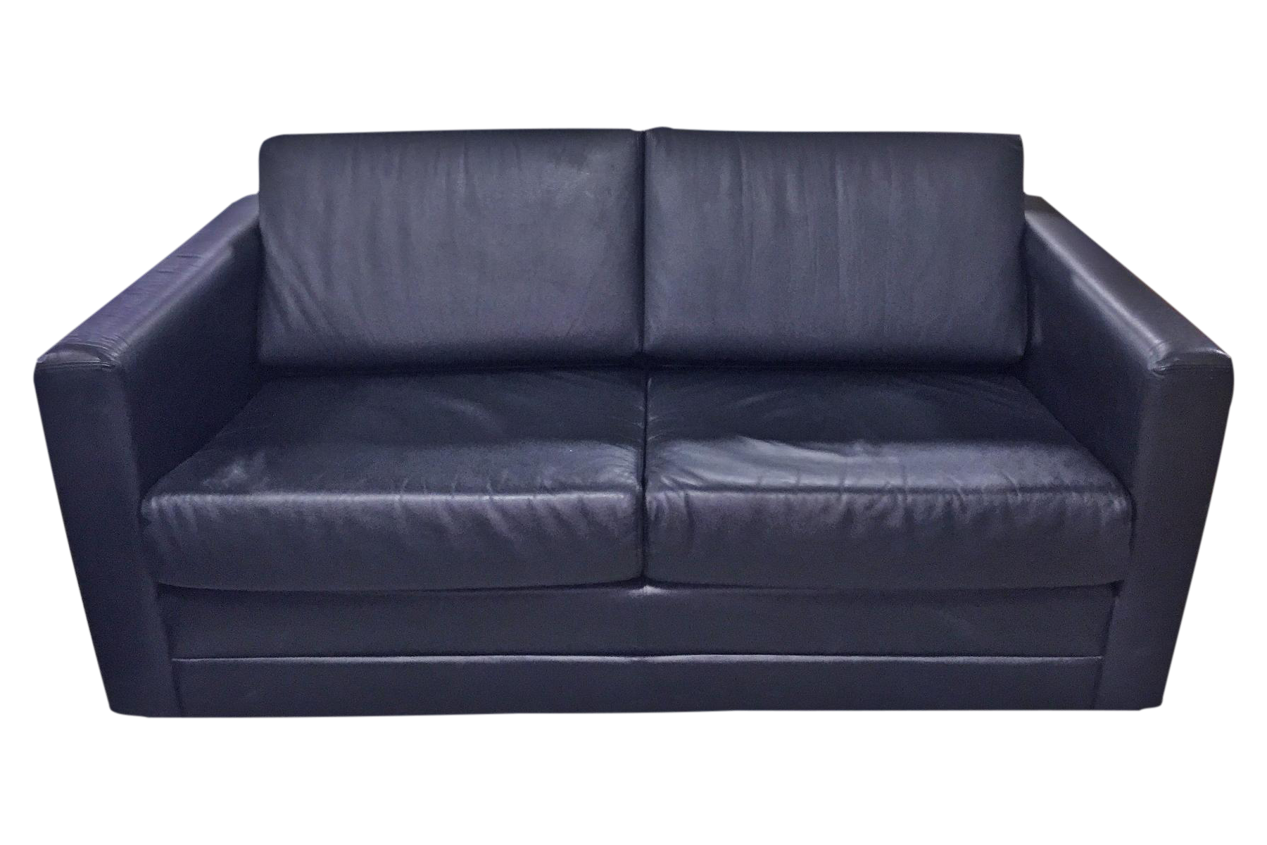 Brayton International Black Leather 2 Seater Sofa