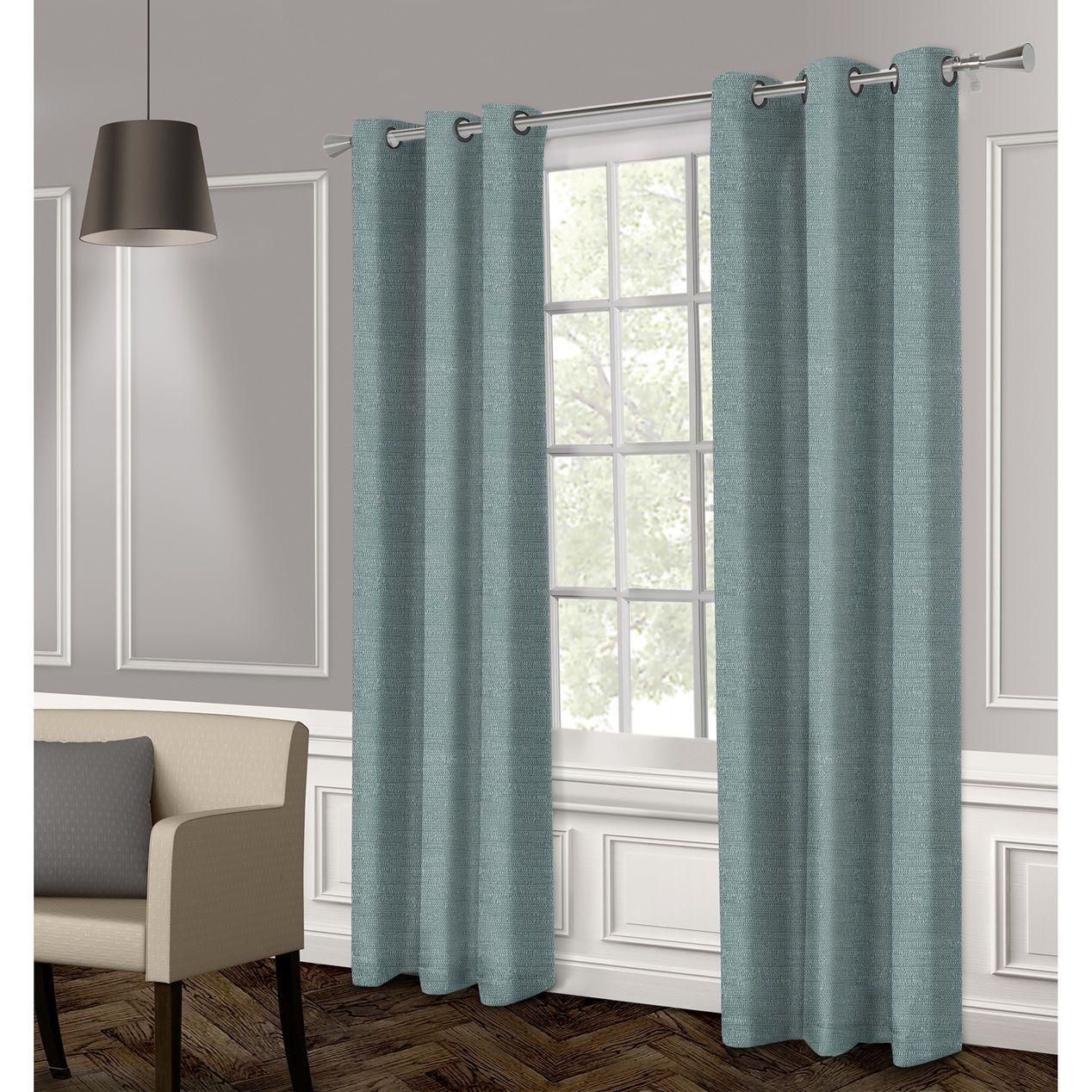 Raw Silk Textured Grommet Curtain Panel- Blue 96-in
