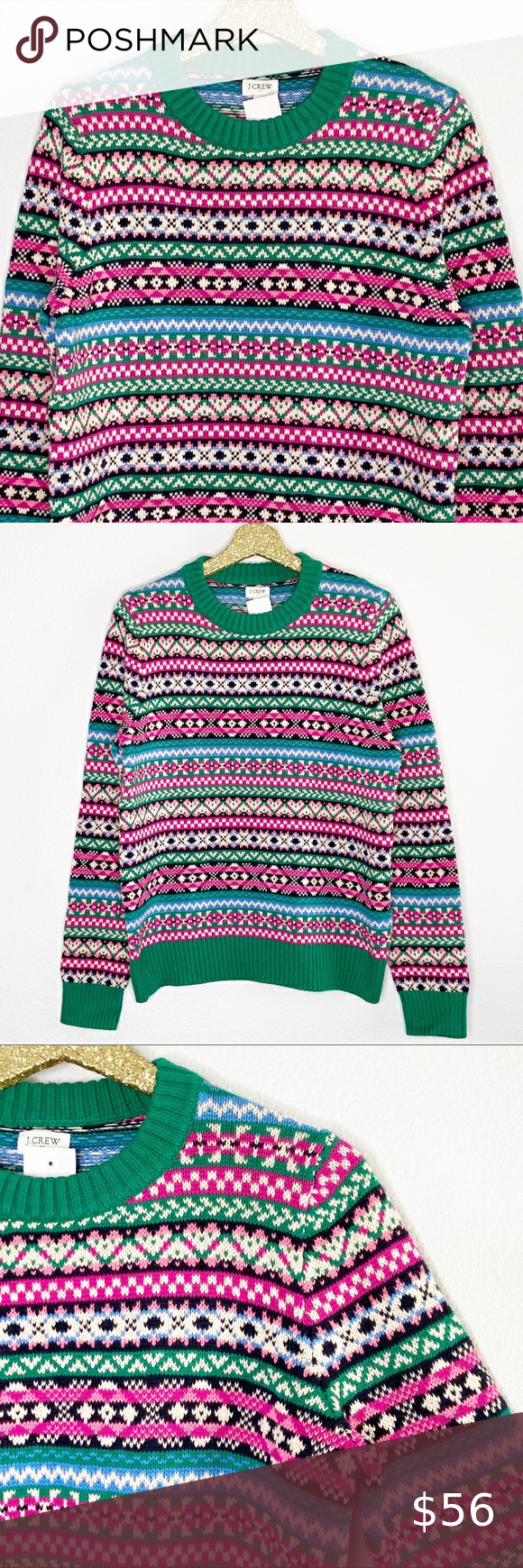 """J. Crew Factory Fair Isle Nordic Print Sweater M -Green, blue and pink allover fair isle Nordic style print -Cotton sweater knit -Green ribbed crewneck and long sleeves  -Women's size M, approximate measurements Underarm to underarm: 20.5"""" Length: 25.25""""  -New with Tags Condition NWT Never worn  J81 J. Crew Factory Sweaters Crew & Scoop Necks"""