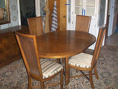 Vintage 1969 Drexel Heritage Compatica Dining Room Set 4 Chairs Buffet Pecan Tuscan Dining Room Furniture Dining Room Buffet Modern Dining Room Lighting