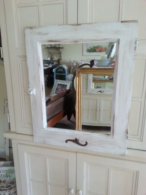antique farmhouse wood vanity mirror door distressed white rustic