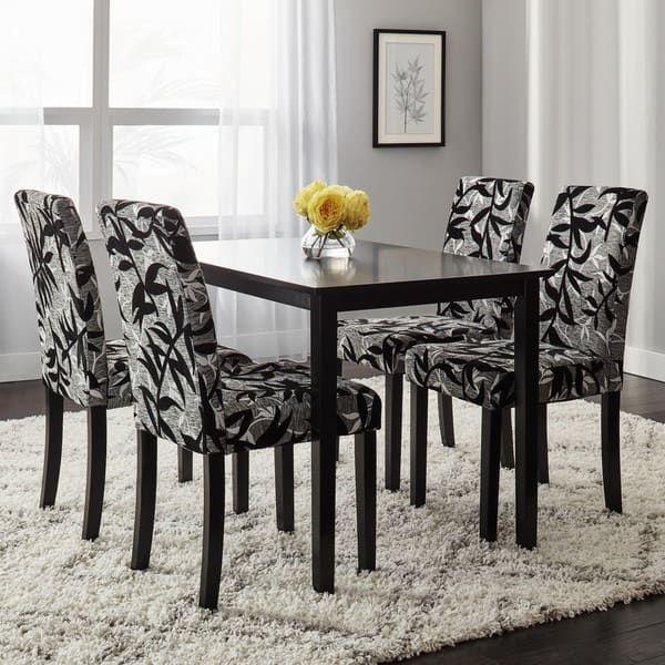 Simple Living Parson Black And Silver 5Piece Dining Table And Awesome Black And Silver Dining Room Set Design Inspiration