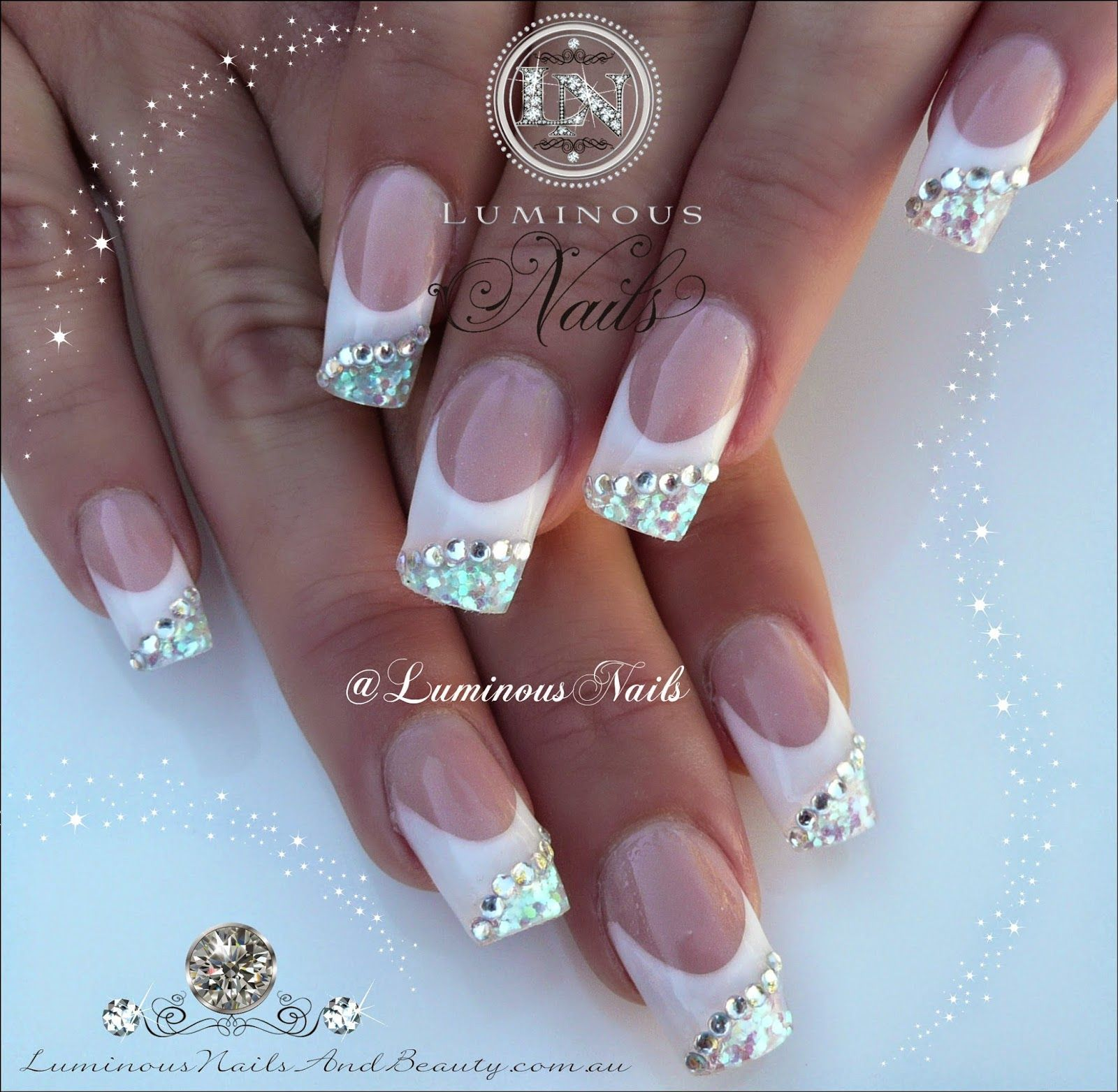 Luminous Nails: White & Silver Nails with Bling... | Nail ideas ...