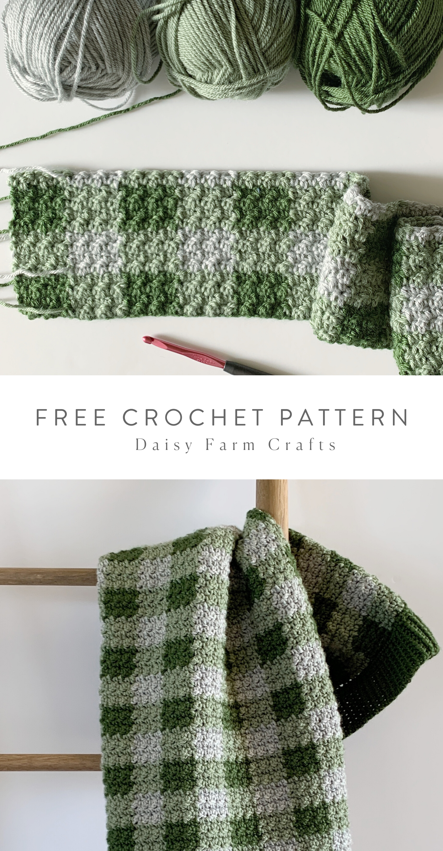 Photo of Free Pattern – Crochet Green Gingham Blanket