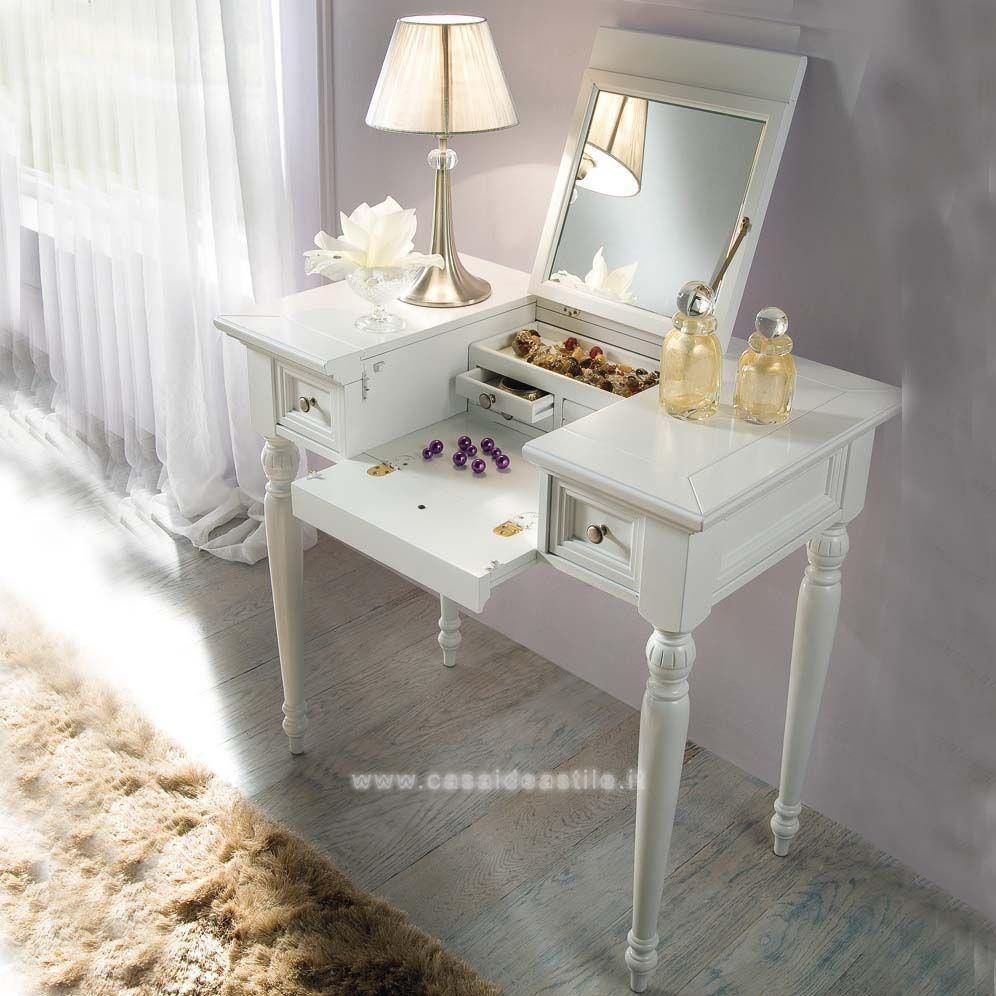 mobile da trucco con maniglia in metallo | mobili casa idea stile ... - Toilette Provenzale Con Specchio E Sgabello