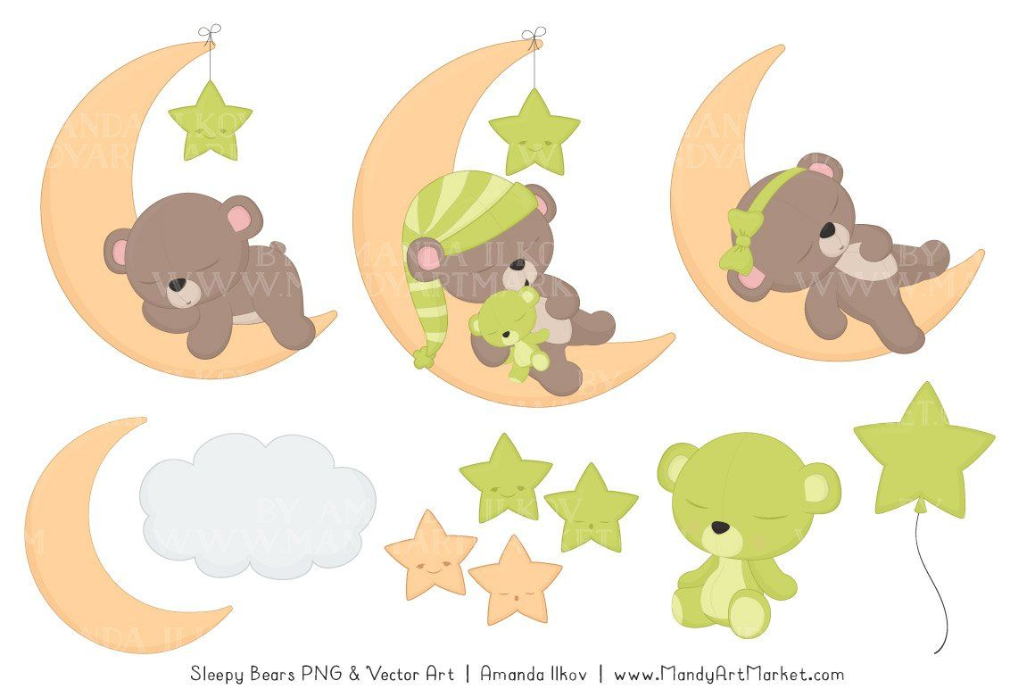 Bamboo Sleepy Bears Clipart Bear Clipart Teddy Bear Design Bear Illustration