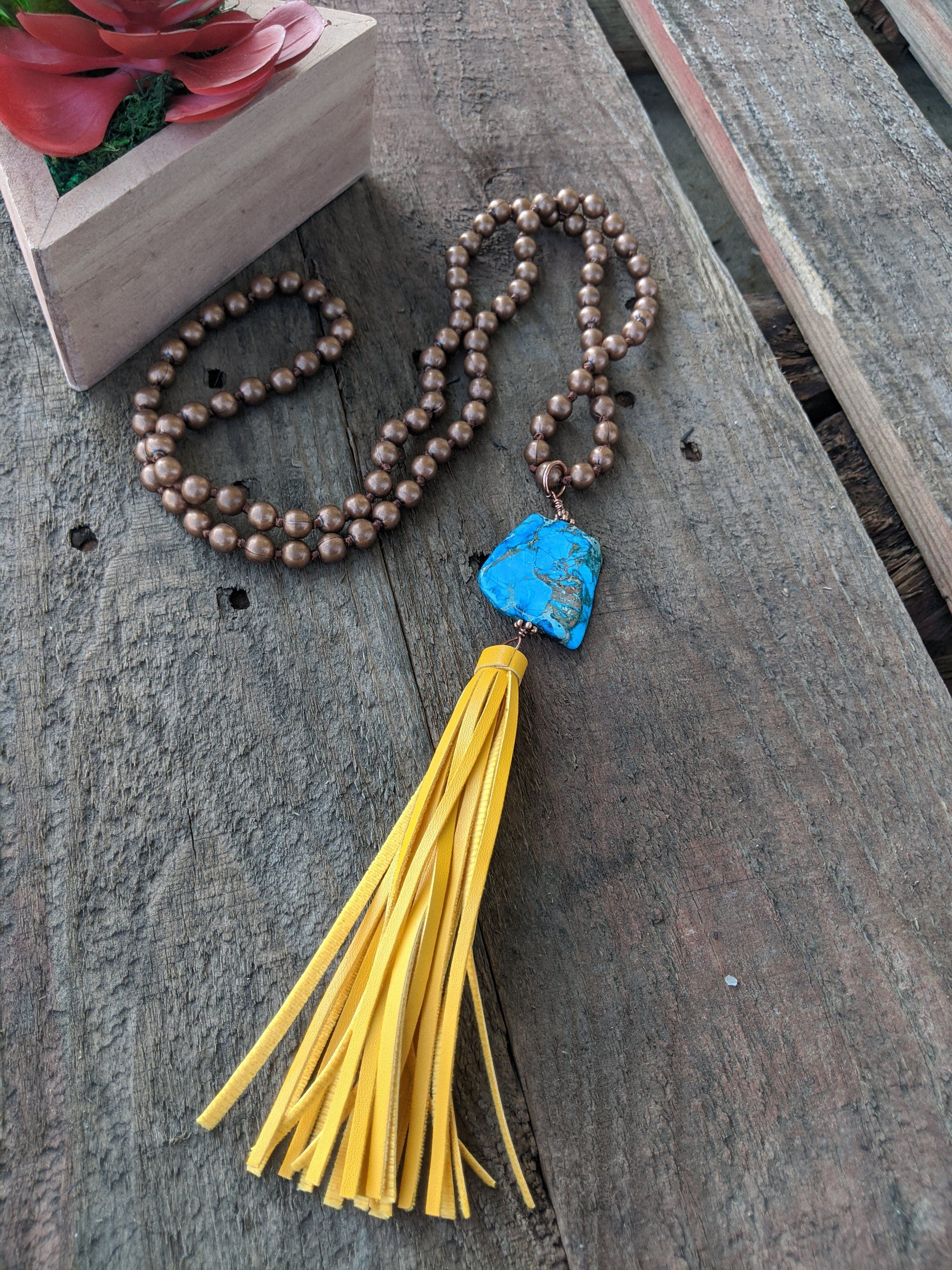 Copper with Turquoise Stone & Yellow Tassel Necklace