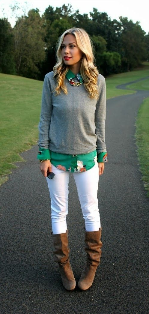 teal shirt, gray sweater, white jeans, boots