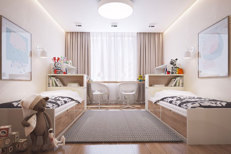 kinderzimmer f r zwei in creme und taupe children 39 s room. Black Bedroom Furniture Sets. Home Design Ideas