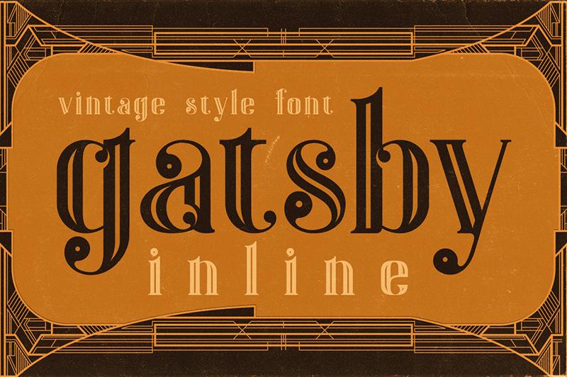 Gatsby Inline Font Dafont Com Cool Fonts Vintage Fonts Art Deco Font