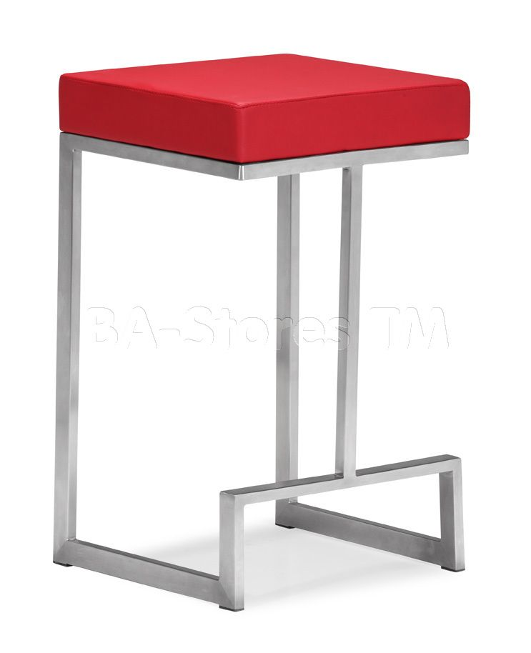 Darwen Red Leatherette Counter Stool Set Of 2 Counter Stools