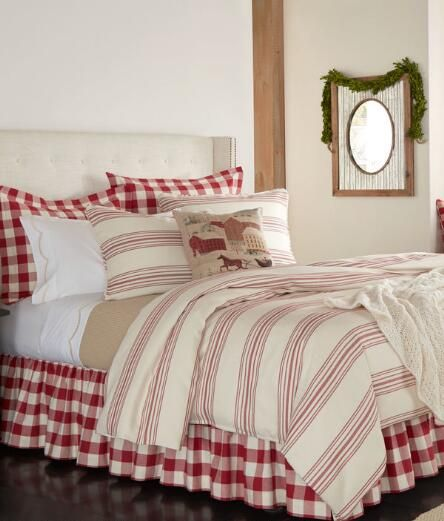 Normandie Ticking Stripe Duvet Cover 249 95 299 95 Red