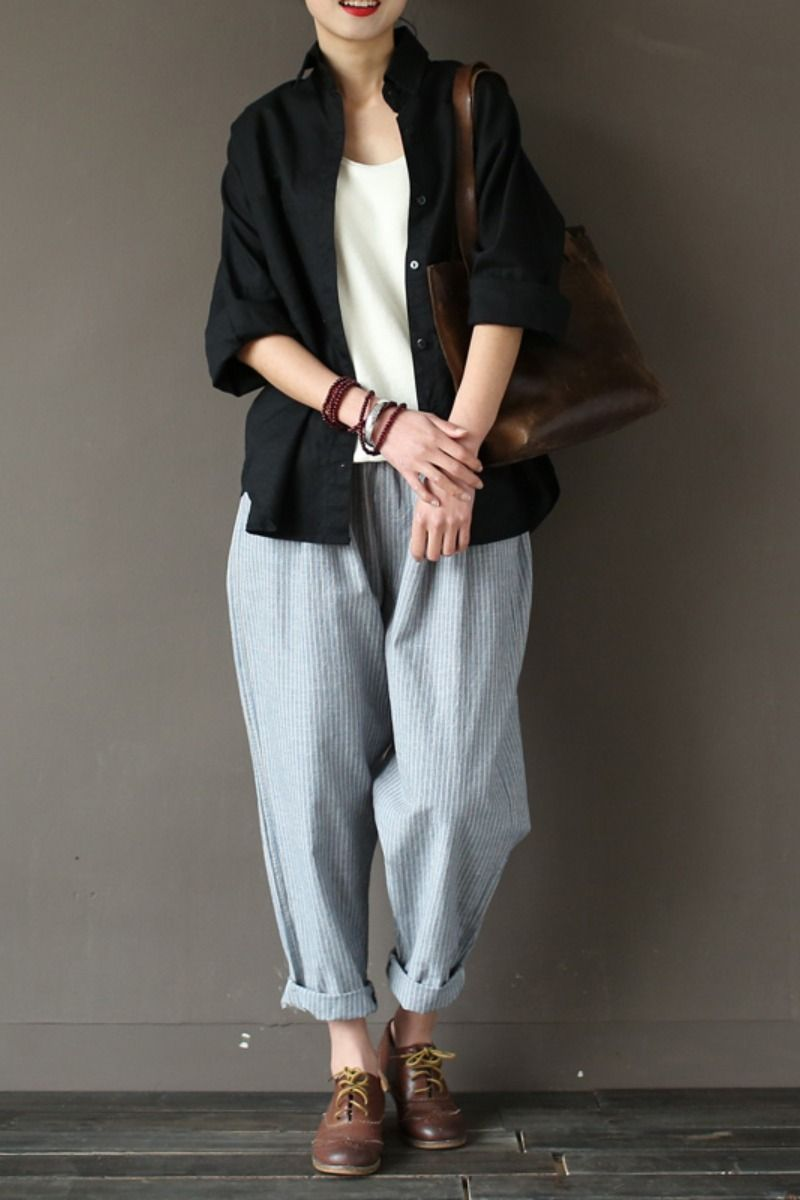 Cotton linen casual loose striped pants in 2020 linen