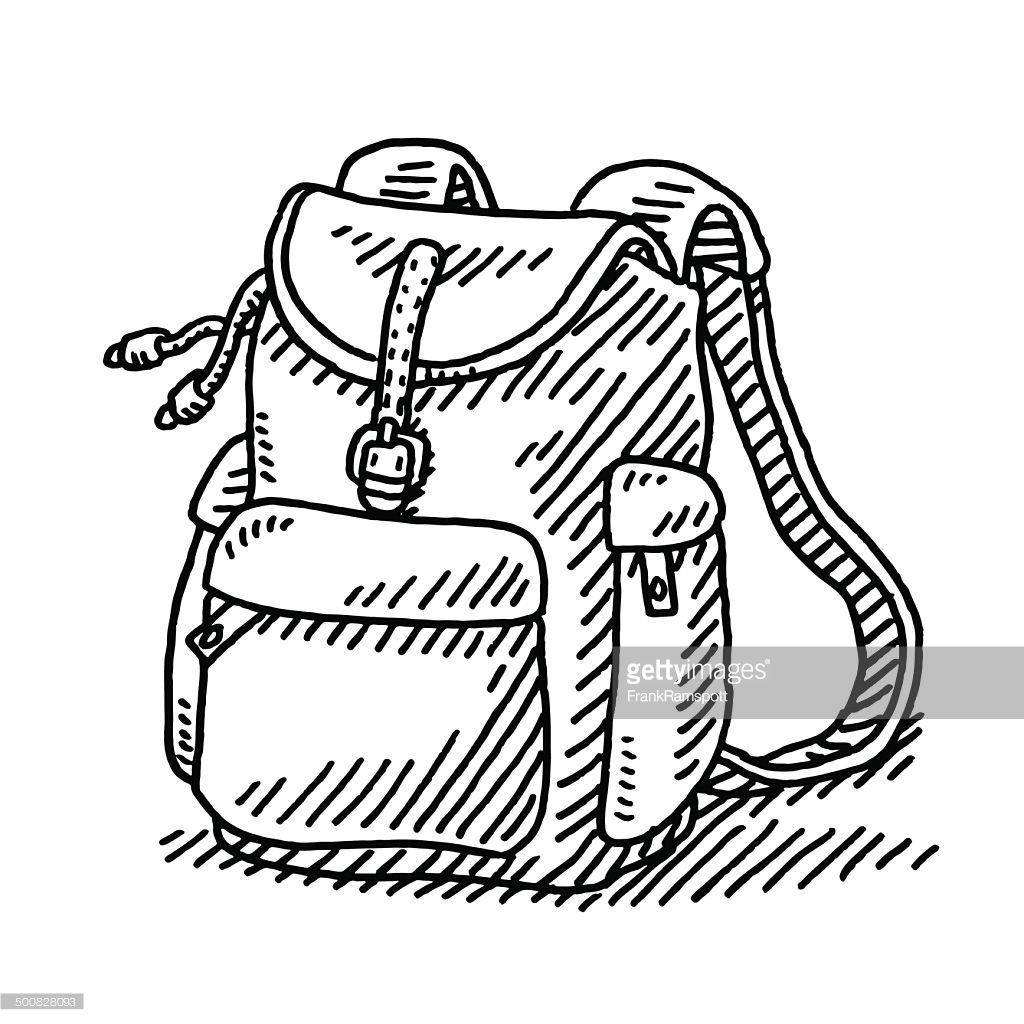 Hand Drawn Vector Drawing Of A Hiking Backpack Black And