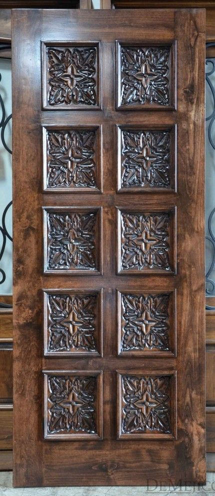 The Puerta Hoja Square Top Is A Beautiful Hand Carved Door Made From Solid Alder Wood That Features Intricately Ha Entry Doors Carved Doors Wooden Door Design