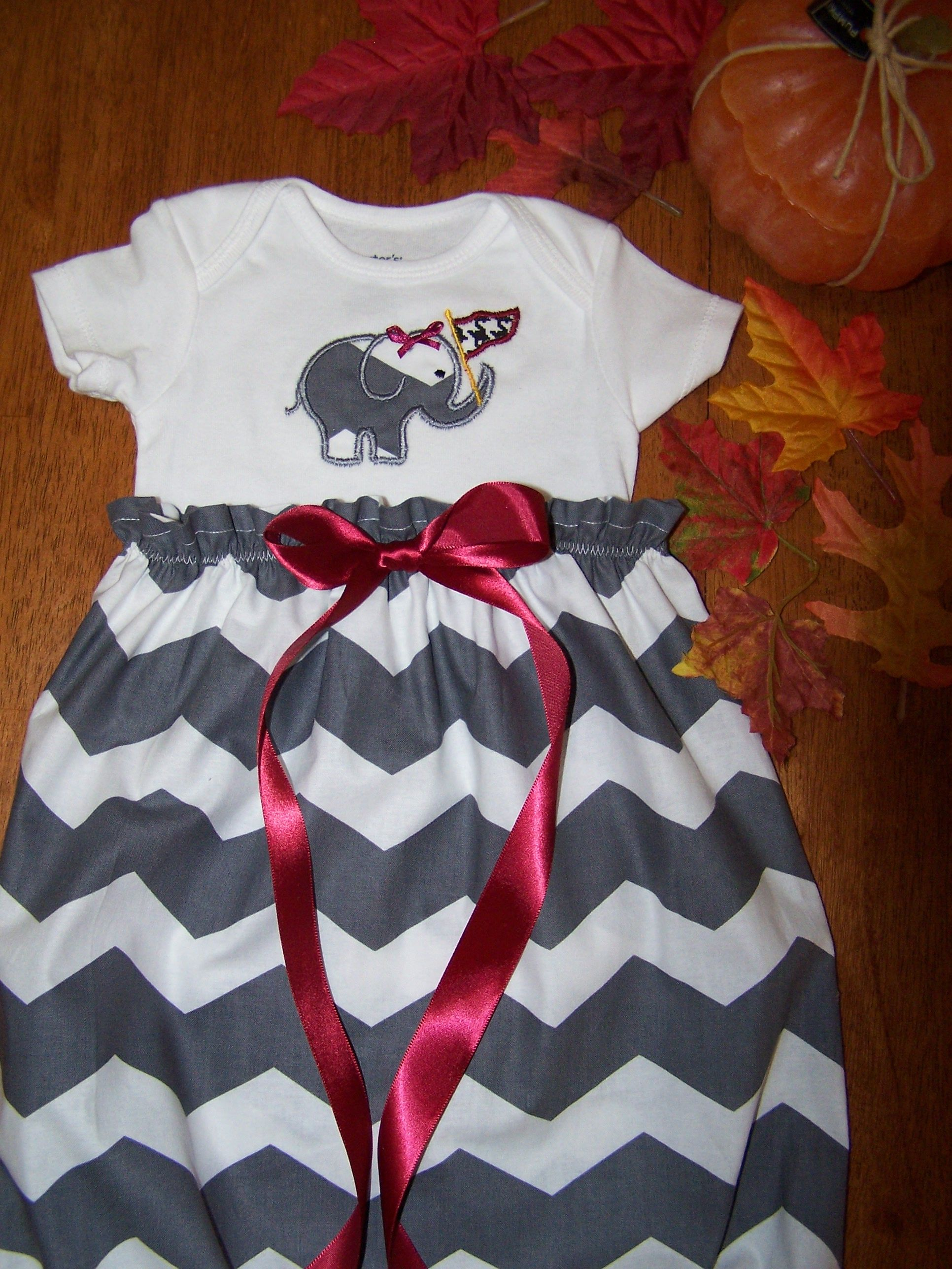alabama chevron baby gown on my shop at Etsy Tinas Pumpkin Patch