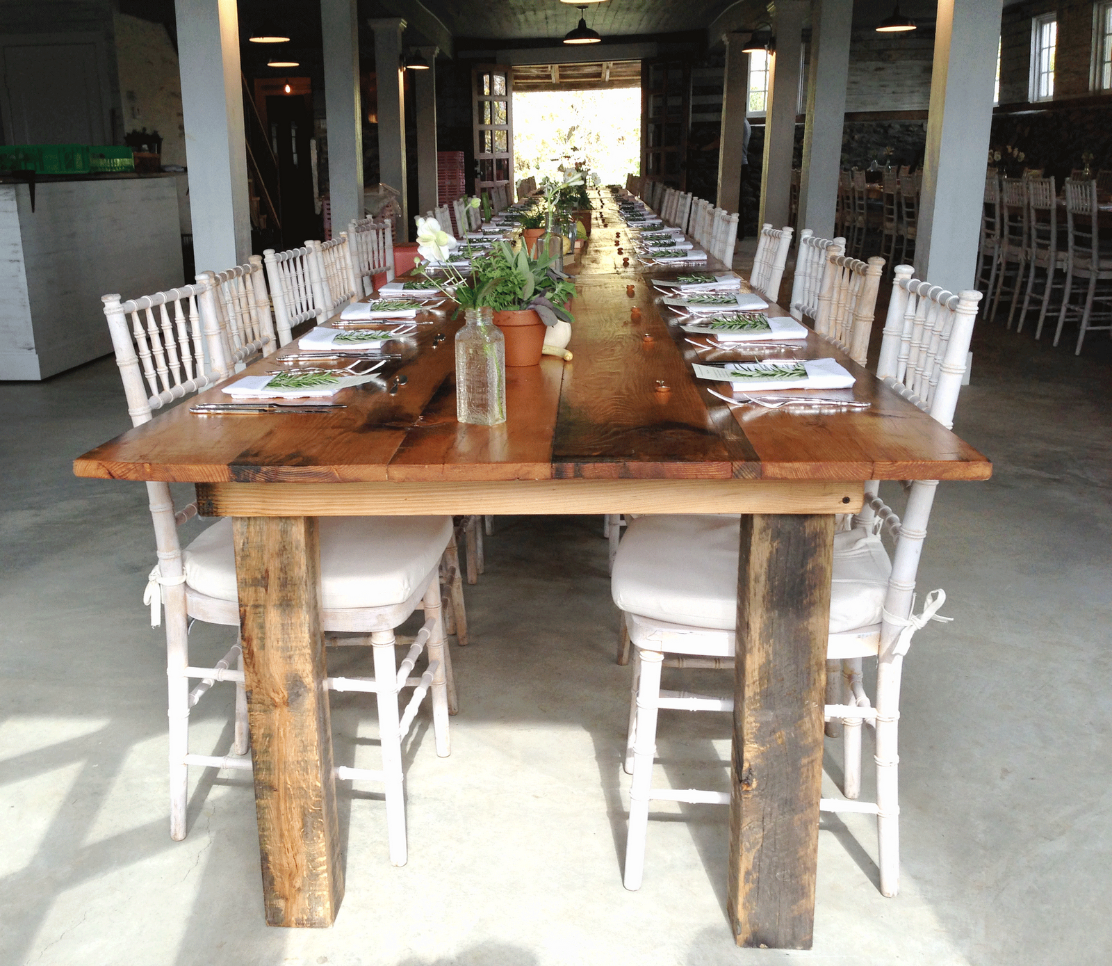 Lovely Farm Tables W/ Chiavari Chairs... Pair With A Lace/burlap Runner