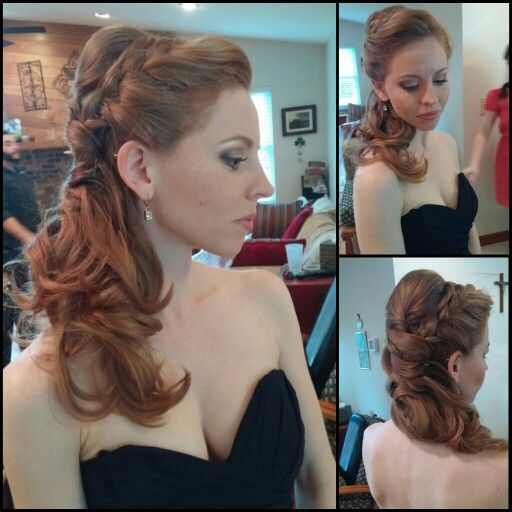 Side Swept Curls With Braid By Janis Parlaman Www Facebook