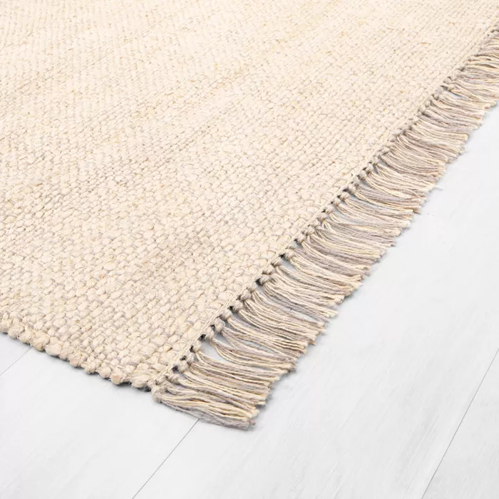Bleached Jute Rug With Fringe Hearth