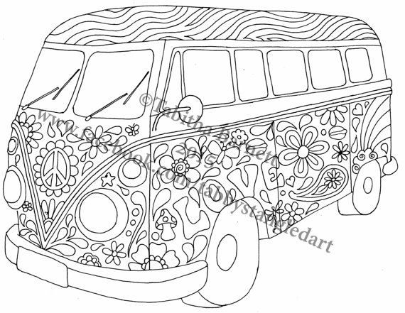 Hippie Coloring Pages Pdf : Hippie bus coloring page by tabbystangledart on etsy