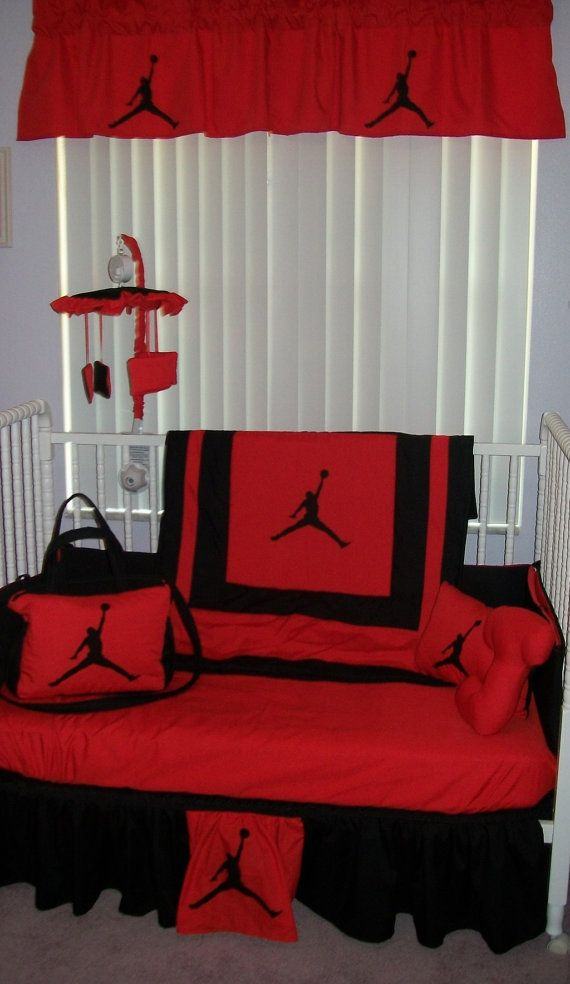 New 7 Piece Baby Crib Bedding Set In Red Black Michael Jordan