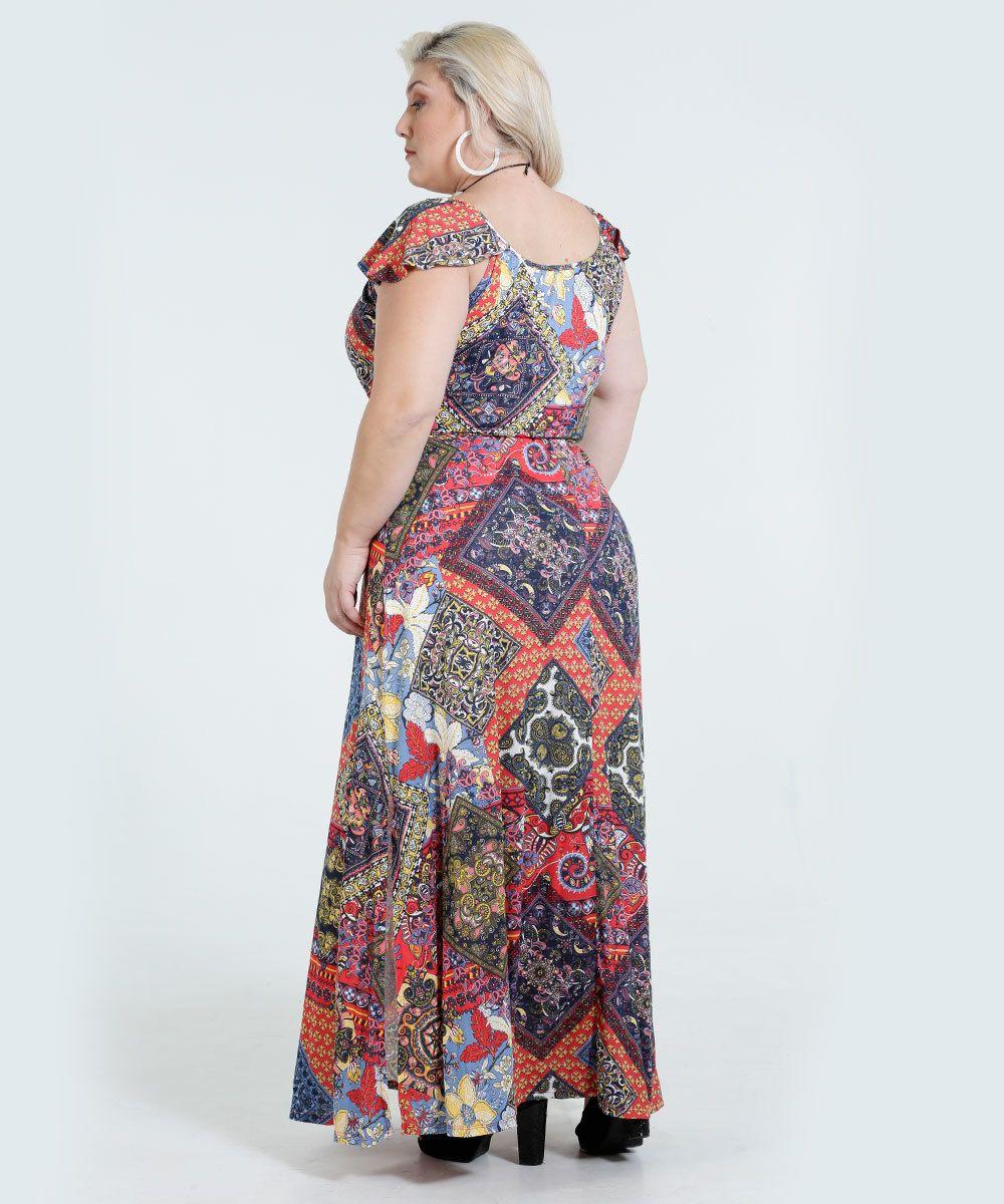 ee325c98b Vestido Feminino Longo Estampado Plus Size Marisa