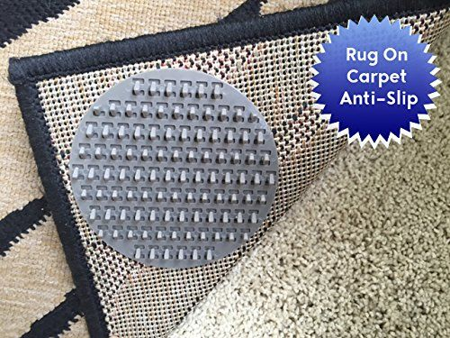Non Slip Rug Pads For Rug On Carpet Anti Slip Designed For Use On Medium Pile Carpet 8 Pack Intended To Limit Medium Larg Rugs On Carpet Rug Pad Nonslip Rug